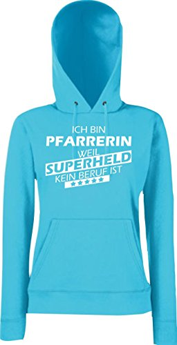 Shirtstown Mujer Capucha eatshirt Soy Pfarrerin, weil Súper héroes ningún Oficio ist, Tallas XS-XXL Púrpura