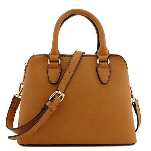 Leather Tan Purse - Classic Double Zip Top Handle Satchel Bag Light Tan