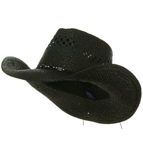 MG Womens Straw Outback Toyo Cowboy Hat, Black