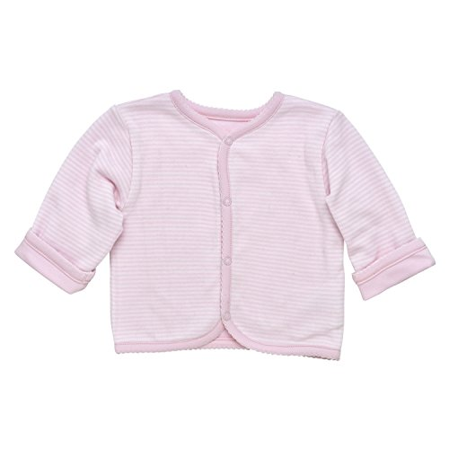 (Under the Nile Baby Girl Reversible Cardigan Size 3-6M Pale Pink Stripe Organic Cotton)