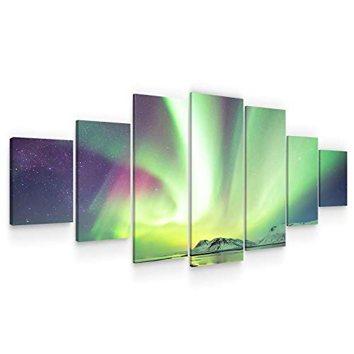 STARTONIGHT Huge Canvas Wall Art - Aurora Borealis - Home Decor - Dual View Surprise Artwork Modern Framed Wall Art Set of 7 Panels Total40