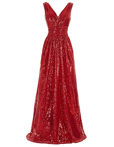 Red Women's Elegant Long Pageant Dress Sequins Bridesmaid Dresses Size USA16 KK199-5