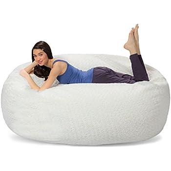 Comfy Sacks 6 Ft Lounger Memory Foam Bean Bag Chair, Polar Fox