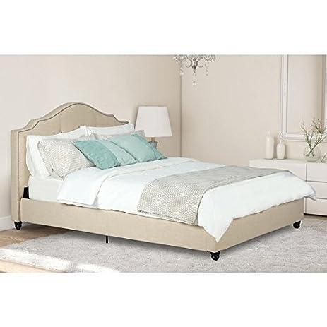 Amazon.com: Avenue Greene Averna Beige Linen Upholstered Full Bed ...