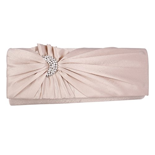 Adoptfade Womens Pleated Flower Clutch Bag Satin Retro Evening Bags,Champagne ()