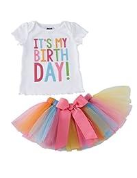 Girls'It's My Birthday Print Shirt Tutu Skirt Dress Outfit Set