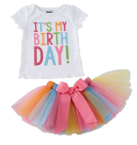 Girls'It's My Birthday Print Shirt Tutu Skirt Dress Outfit Set, White+pink a, 70  4-5 Years by Zoe's wardrobe