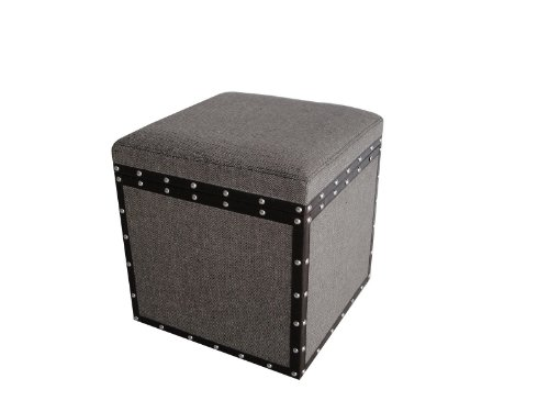 Screen Gems Mandalay Square Tweed Storage Stool by Screen Gems