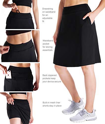 "Yogipace Women's 4 Pockets UV Protection 20"" Modest Knee Length Skirt Athletic Running Golf Tennis Skort Zippered Pockets"