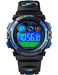 Kids Sports Watch, Multi Function Digital Kids Watches Waterproof LED Light Wristwatches for Boys Girls (Black)