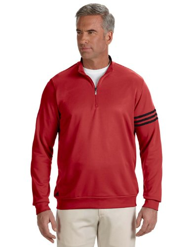 adidas Men's Golf Climalite 3-Stripe French Terry 1/4 Zip Pullover, Universal Red/Black, Medium
