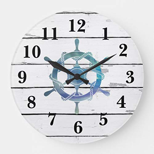 Nautical Blue Wheel Ship Rustic Decor Wall Clocks Large Decorative Silent Non-Ticking Wood Clock for Women 16 Inches