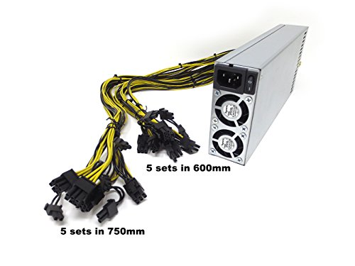 Bgears b-PowerMiner 2400W 1U Antminer PSU APW3+ 10 x PCIe 6+2 Pin connectors extended cable 5 sets in 600mm 5 sets in (Ac 110v 6 Output Connector)