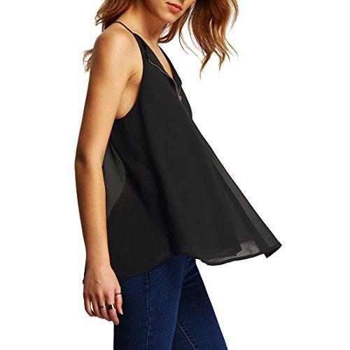 T Femme V de Blouse Tank Zipp Moussline Shirts Shinekoo Ete Col Top Soie Manche Chemise Noir sans SEXd7qw