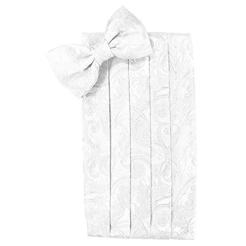 (Men's Tapestry Cummerbund & Bow Tie Set - Many Colors (White))