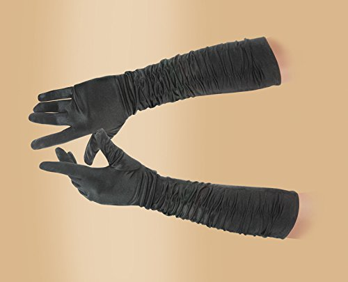 Star  (Black Extra Long Satin Gloves)