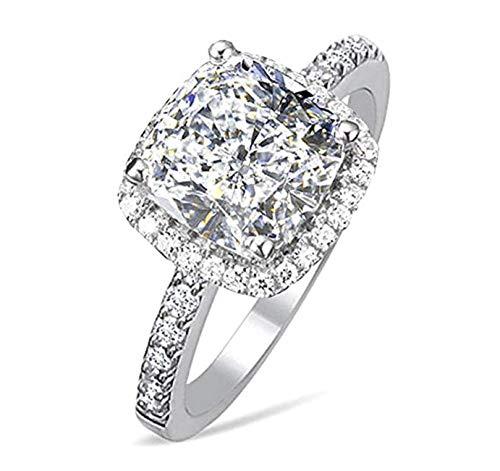 Diamonbella 101 Facets 2 Carat Princess Cushion Cut NSCD Simulated Diamond Ring 925 Silver Platinum Plated Halo (7)