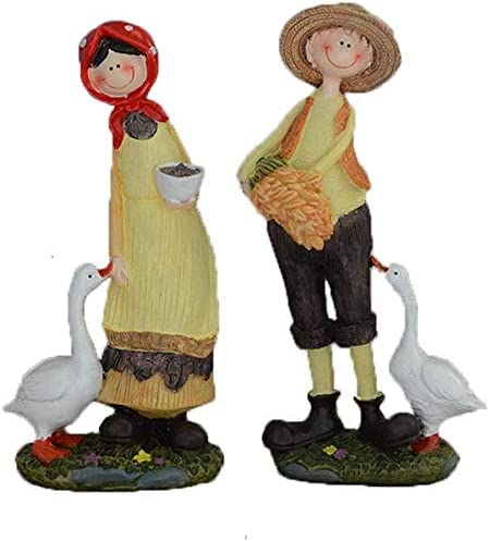 LJNYFカップルは、樹脂の装飾、室内装飾工芸品の誕生日プレゼント牧歌的なスタイルを生活創造ホームリビングルームのワインキャビネットのガチョウ