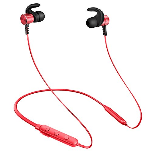 Wireless Bluetooth Metal Earphone,SquRod Necklace Magnetic Wireless Earbuds HiFi Level Noise Cancelling Earphone W/Mic Headphone Lightweight for Gym 8 Hours Playtime (Red)