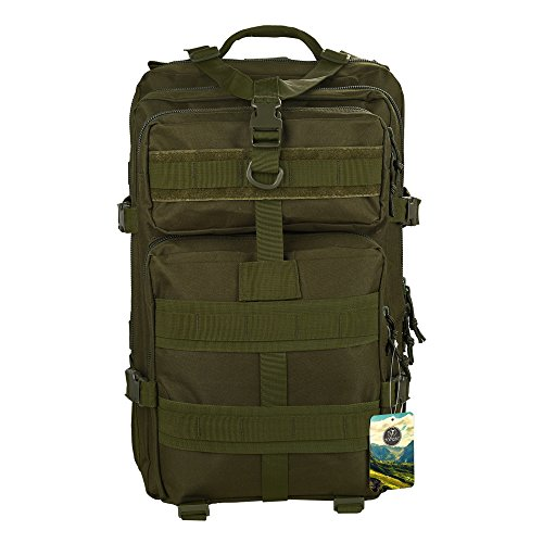 Rucksack,TOPQSC Waterproof 600D Oxford fabric Outdoor Tactical Bag Shoulder Expandable Hunting Tactical Daypack & Sport Casual Backpack for Camping Trekking Travel Hunting 45L Medium Green
