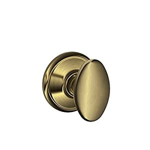 Schlage F10 SIE 609 16-080 10-027 Siena Hall and Closet Knob, Antique Brass