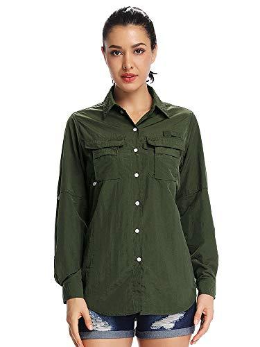Women's Quick Dry Sun UV Protection Convertible Long Sleeve Shirts for Hiking Camping Fishing Sailing #5055,Army Green, 3XL ()