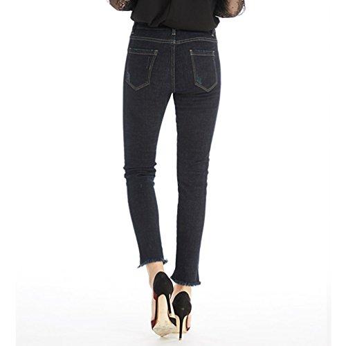Stretch Denim pais Femme Taille Bleu Fonc Haute CHENGYANG Jeans Collant Pantalons Slim Crayon R8qg5vnnwB