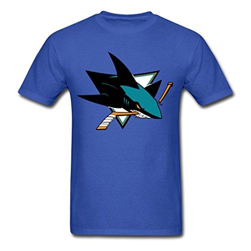 ZMJS Men's San Jose Sharks Ice Hockey Logo Royal blue T Shirt XL