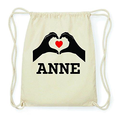 JOllify ANNE Hipster Turnbeutel Tasche Rucksack aus Baumwolle - Farbe: natur Design: Hände Herz