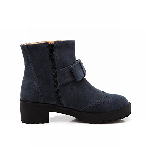 Carolbar Womens Zipper Fashion Simple Bows Mid Heel Short Boots Deep Blue jHq8zSqH0