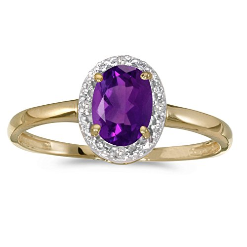 FB Jewels 10k Yellow Gold Genuine Purple Birthstone Solitaire Oval Amethyst And Diamond Wedding Engagement Statement Ring - Size 10 (0.45 Cttw.) by FB Jewels (Image #1)