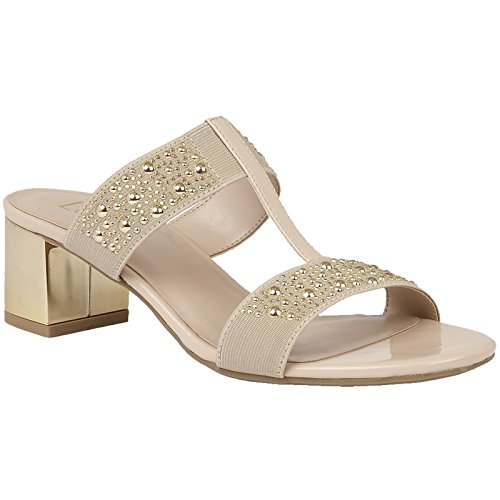Lotus Ladies Rosana Beige Gold Patent Elasticated Low Block Heeled Sandals-UK 3 (EU 36) L17n7K