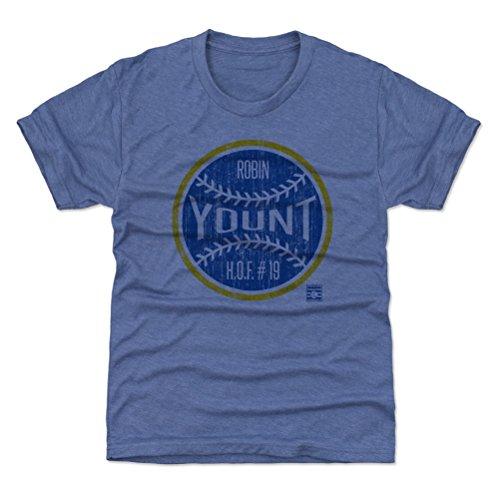 (500 LEVEL Milwaukee Baseball Youth Shirt - Kids Small (6-7Y) Tri Royal - Robin Yount Ball B)