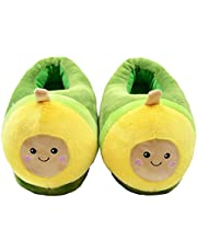 seemehappy Novelty Slippers Cartoon Avocado Plush Slippers Warm Winter Slippers House Shoes for Women