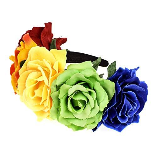 Accesyes Custom Mexican Flower Crown Day of The Dead Hawaiian Boho Frida Floral (Rainbow)