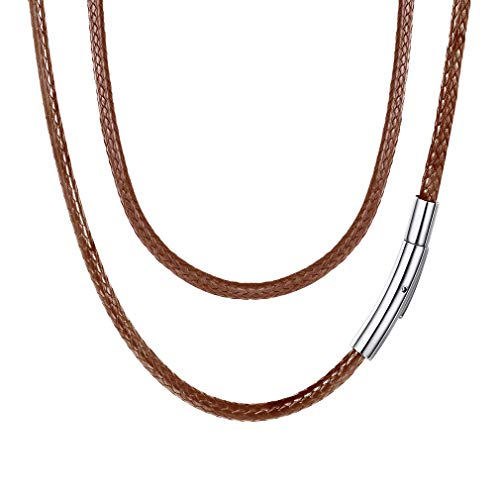 FaithHeart Braided Leather Cord Necklace with Stainless Steel Durable Snap Clasp, 3mm Men Women DIY Woven Wax Rope Chain for Pendant, 22 Inches Brown ()