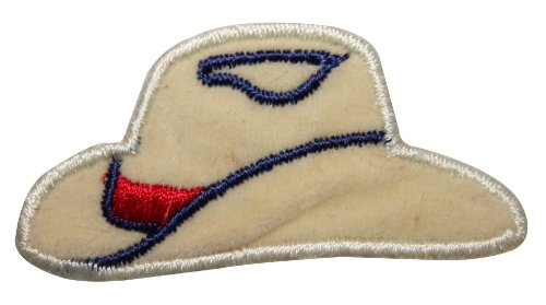 ID 8787 Country Western Hat Patch Cowboy Cap Felt Embroidered Iron On Applique ()