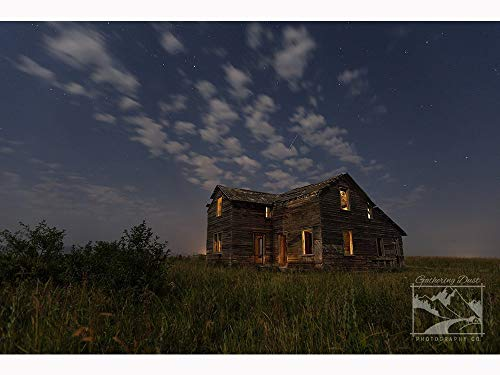 Company Prairie Star - Stars over Abandoned House - Prairie Photography, Abandoned Photography, Night Photography, Abandoned, Rustic, Rural, Farm, Home Décor, Wall Art