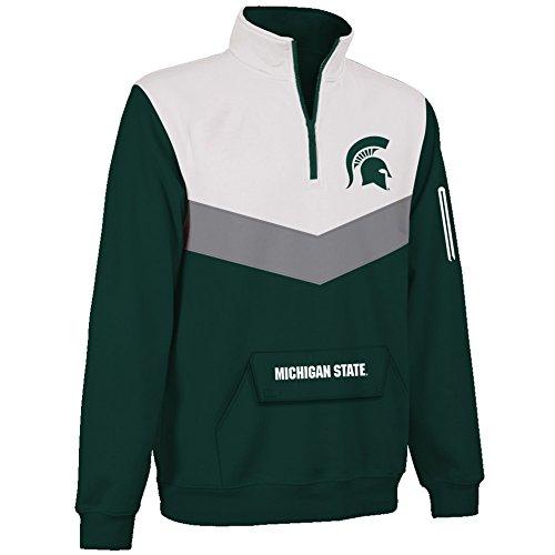 gan State Spartans 1/4 Zip Sweatshirt Captain - L - Forest Green (Elite 1/4 Zip)