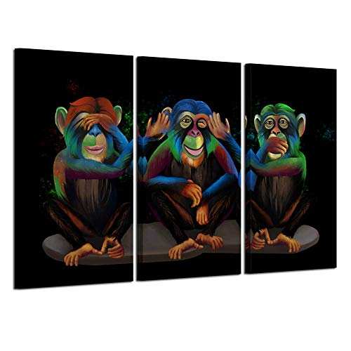 Kreative Arts 3 Panel Animals Canvas Print Wall Art See Hear Speak No Evil Monkeys Wall Art Modern Gorilla Poster and Prints Walls Painting Decorative Art Work for Home Office Decor Gifts 16x32inchx3 (Hear No Evil Posters)