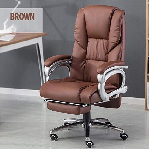 WXF Chairs Office, Gaming Desk Computer Chair Leather Recliner tilt Napping with Footrest Height Adjustable Executive Swivel Chair (Color : Brown)