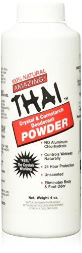 Thai Crystal Deodorant Natural Crystal & Cornstarch Deodorant Foot Body Powder, Unscented, 4 Ounce