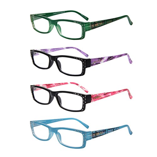 LianSan Designer Spring Hinge Light Weight Reading Glasses Women 2.0 1.5 1.0 4.0 3.0 2.5 3.5 Rectangular Plastic Fashion Style Readers with Case with Rhinestones 4 Pack L3718 (+2.00, 4 Pairs)
