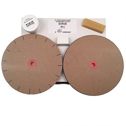"Paper Wheels Sharpening System - 8"" Wheels for 6"" Grinders - Grit & Polishing Wheel + Wax, Compound, and Extra Grit"