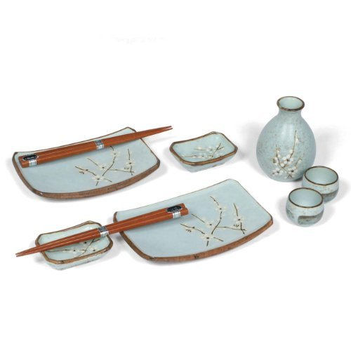 (MIYA Japanese Sushi And Sake Set For Two for Two with Chopsticks, Spring Blossom)