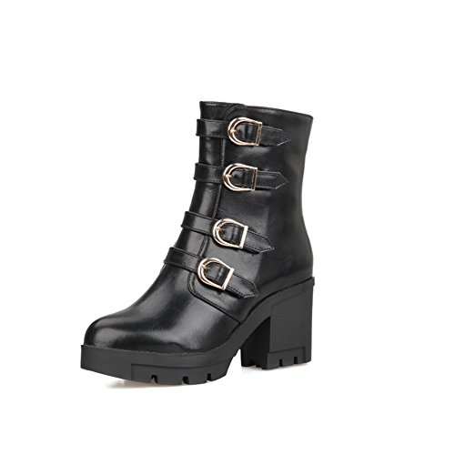 Imitated Womens Boots Heels Chunky AdeeSu Black Buckle Leather Zipper X0Cwvd