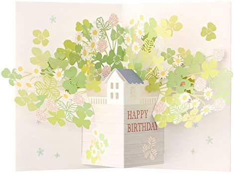 CffdoiHeka Birthday Card,Clover Flower Birthday Card,Creative Blessing Card Decoration.