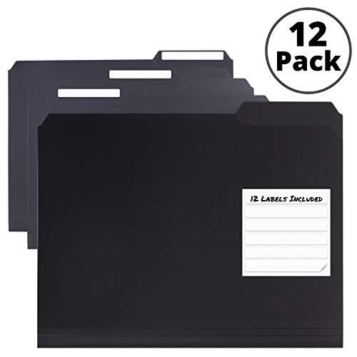Dunwell Plastic Black File Folders – (12 Pack of Folders), 3 Tab Folders, Letter Size, Plastic File Folders Black, 1/3…