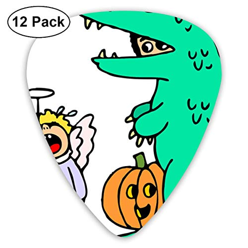 Hallome Halloween Dinosaur Pumpkin Baby Guitar Pick 0.46mm 0.73mm 0.96mm 12pack,Suitable for All Kinds of Guitars