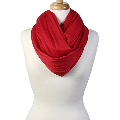 Review Scarfand's Super Soft Light Weight Solid Color Infinity Loop Scarf (Double Size – Red)